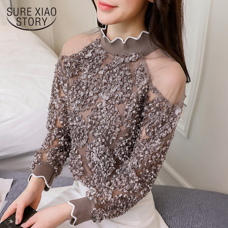 lace patchwork sexy style female shirts fashion women clothing lace blouses