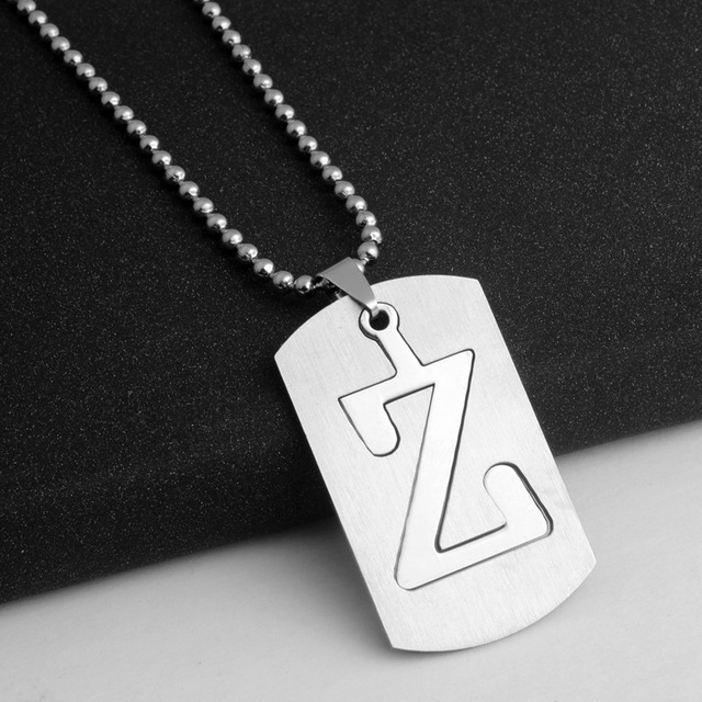 Letter Z Necklace ALP RONGQING 1pcs Stainless Steel Letter Z Pendants Necklace for Men Punk  Jewelry Classic Name Necklace