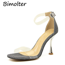 Bimolter Fashion Women Sandals Ankle Strap High Heels PVC Clear Crystal Concise Classic Quality Cover Shoes PSEA020