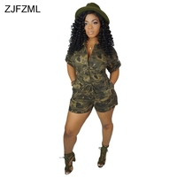 Camouflage Print Sexy Bodysuit For Women 2019 Stand Collar Short Sleeve Short Playsuit Casual Single Breasted One Piece Overal