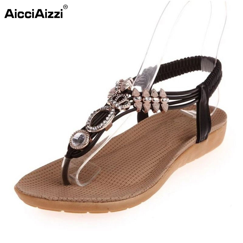 New Arrived Summer Women Sandals Flip Flats Colorful Rhinestone Sample Slip On Leisure Shoes Solid Fashion Footwear Size 35-39 pink vietnam sandals flats female summer outdoor leisure shoes
