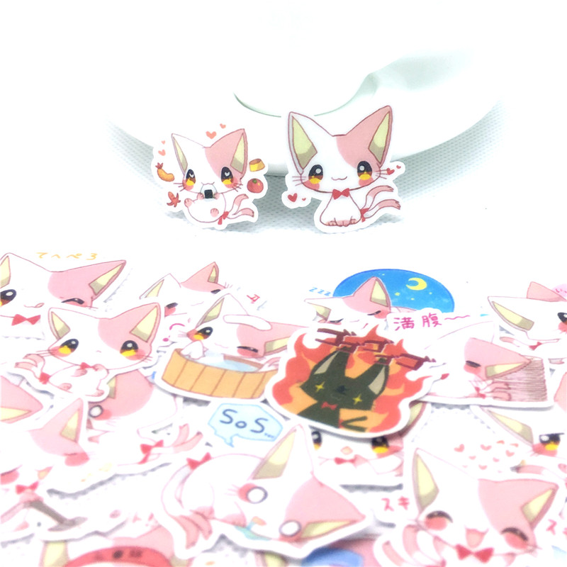 36 Pcs Pink Cat Daily Paper Stickers For Car Motorcycle Phone Luggage Home Decor Fashion Vinyl Decals DIY Sticker Scrapbooking