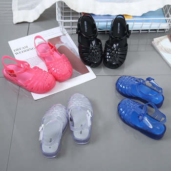 Mini Melissa Original 1:1 Rome Girls Sandals 2020 Summer New Baby Shoes Rainbow Princess Non-slip
