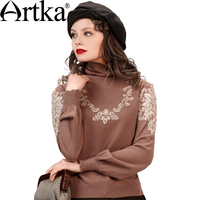 Artka Women S Autumn New 2 Colors Jarquard Wool Sweater Vintage Turtleneck Lantern Sleeve Comfy All
