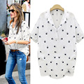 2016 Summer Fashion New Print Character Blouse Shirts Women Casual Short Sleeve Turn-down Collar Cute Tops Plus Size CL2570