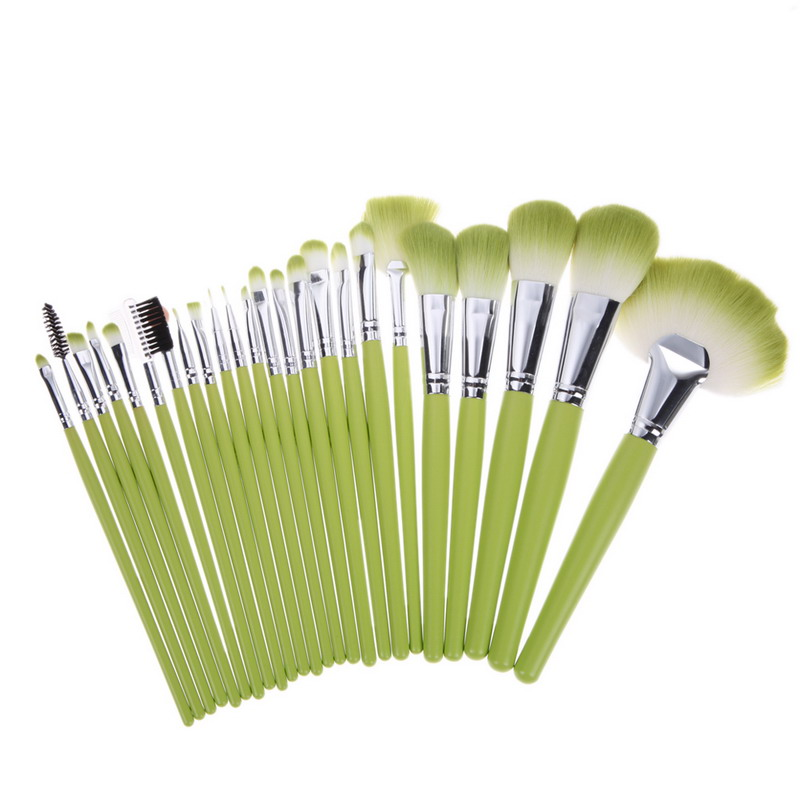 Professional 24Pcs/Set Superior Soft Cosmetic Makeup Brush Set Brushes Kit + Make Up Pouch Bag Green GUB#