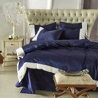 Seta lavata Estate biancheria da letto set biancheria da letto Blu Scuro + bianco increspature di Alta Qualità Palace copripiumino 100% cotone lamiera piana Ruffles