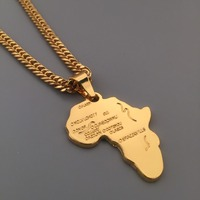Iced Out 18k Gold Plated Africa Map Pendant Cuban Link Chain Necklace Hip Hop Style Mens