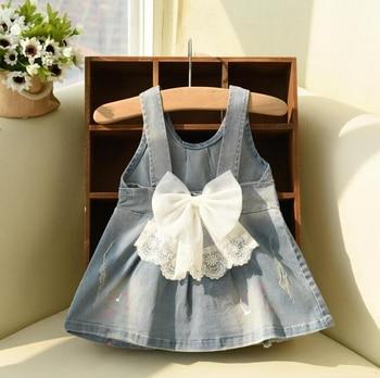 [Bosudhsou] #K-87 Baby Girls Suspender Denim Sundress Sleeveless Floral-bow Denim Dress Soft Cotton Dress Children Clothing