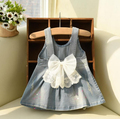 [Bosudhsou] #K-87 Baby Girls Suspender Denim Sundress Sleeveless Floral-bow Denim Dress Soft Cotton Dress Children Clothing
