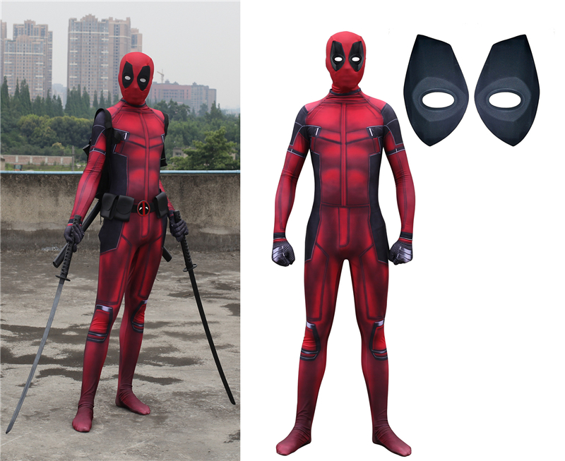 free shipping Hot Marvel Halloween Cosplay Full Body Deadpool Costume Adult Digital Print Lycra Costume Kids