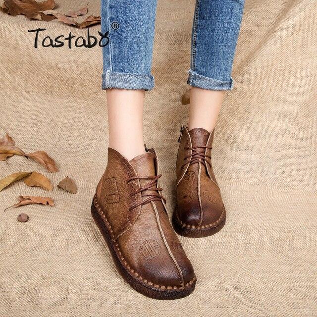 Tastabo Лидер продаж Обувь Для женщин ретро Сапоги и ботинки для девочек ботильоны ручной работы сапоги на плоской подошве реальные Пояса из натуральной кожи Обувь Женская обувь; Большие размеры 42