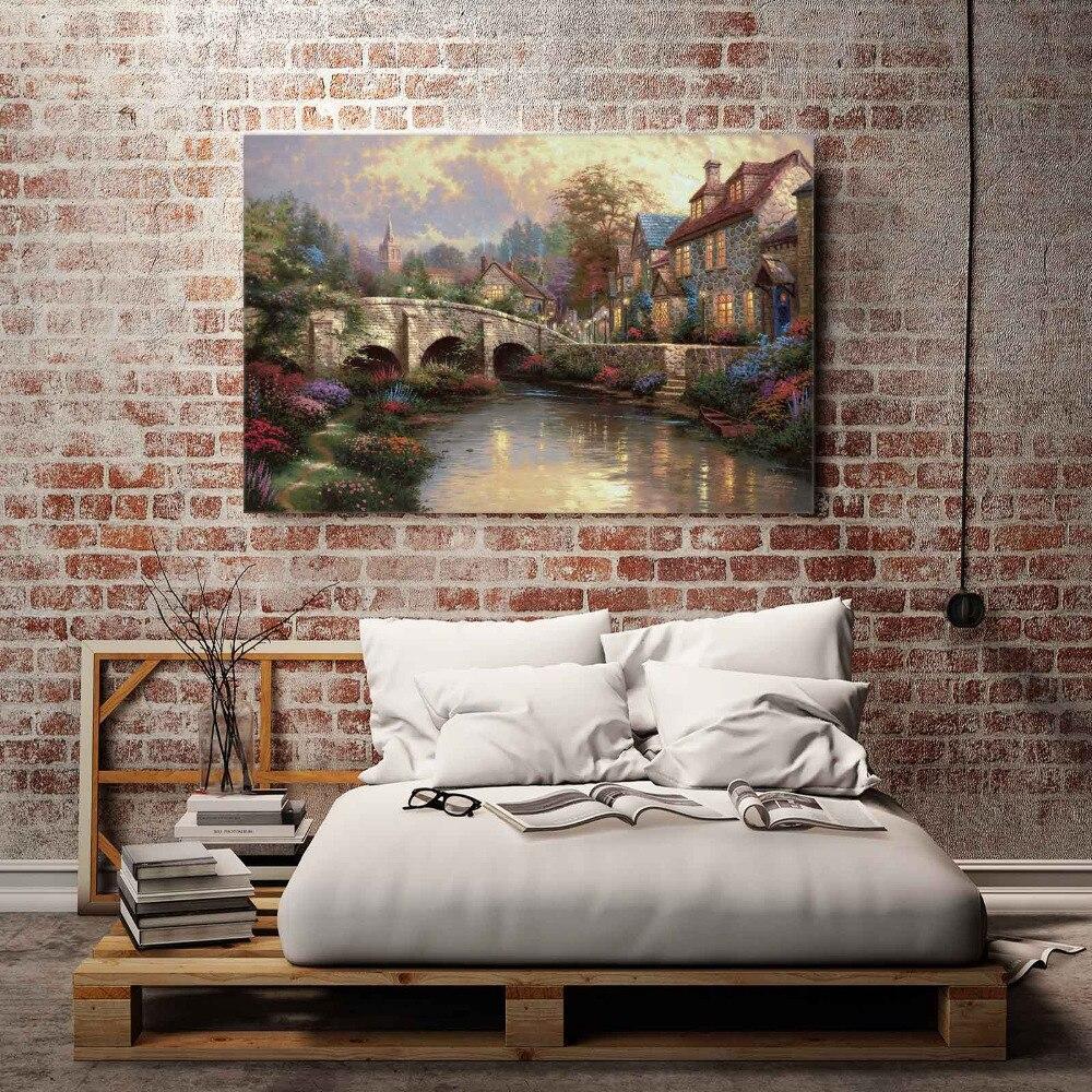 Bedroom Canvas Prints h1150 thomas kinkade cobblestone brooke , hd canvas print home