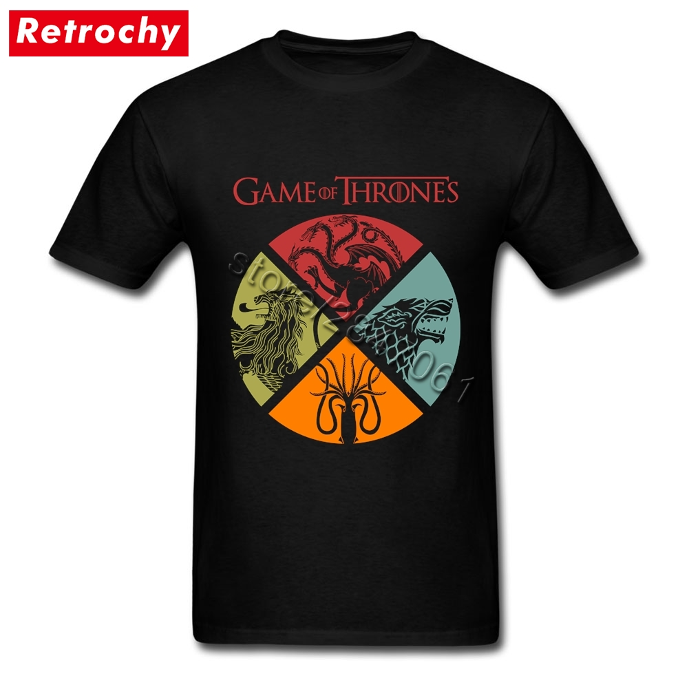 Vintage Game of Thrones T Shirts for High Tall Men 1980's T-Shirt Low Price Movie Tee Brand Clothing Oversized Boyfriend