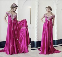 Gorgeous fuchsia celebrity Dubai Arabic evening Dresses spaghetti Straps Prom Dress Beaded Crystal vestidos de festa