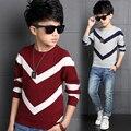 Moda de Nova Bebés Meninos Camisolas Pullover Crianças Meninos de Algodão Listrado Camisola de Malha para 6-13 anos Meninos Cardigan Atacado
