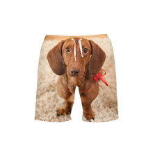 VEEVAN Men Beach Shorts Summer Style Cute Animal Dachshund 3D Printing Casual Surfing
