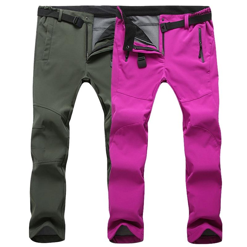 LoClimb Bărbați Femei Fleece Softshell Camping Pantaloni pentru drumeții 2018 Pantaloni sporturi de iarnă în aer liber Trekking Pantaloni de schi impermeabili, AM054