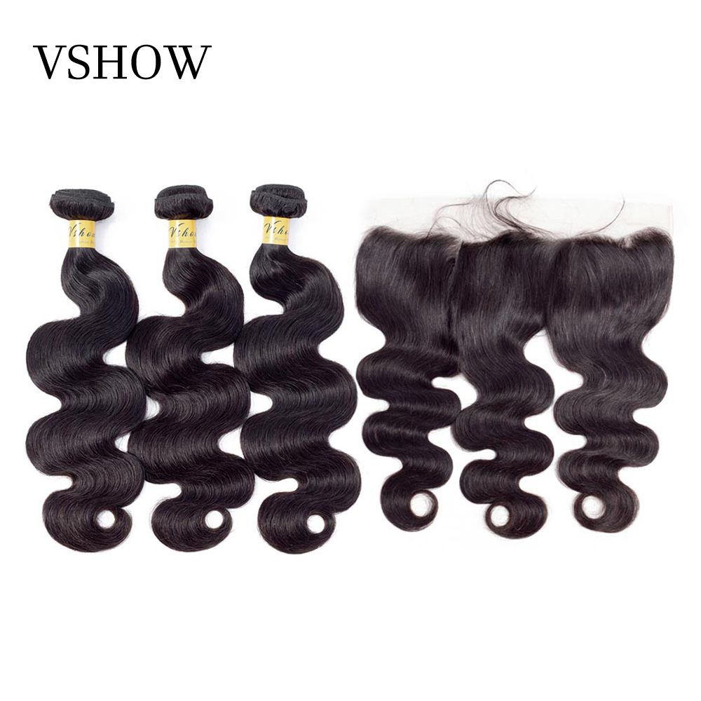 VSHOW Remy Hair Peruvian Body Wave Bundles With Frontal 100 Human Hair Weave Bundles With Closure