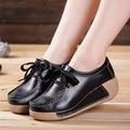 2017 New Autumn Women Casual Shoes Comfortable Ladies Trainers Platform Cow Split Wedges Woman Shoes Zapatillas Deportivas Mujer