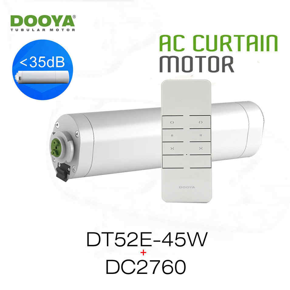 Dooya Home-Automation Open/Close Electric Curtain Motor DT52E 45W+DC2760 2 Channel Emitter WIFI Control by Rm pro Project Motor dooya dc1653 wall switch 15 channel emitter remote controller for electric curtain motor curtain accessories for kt320e dt52e