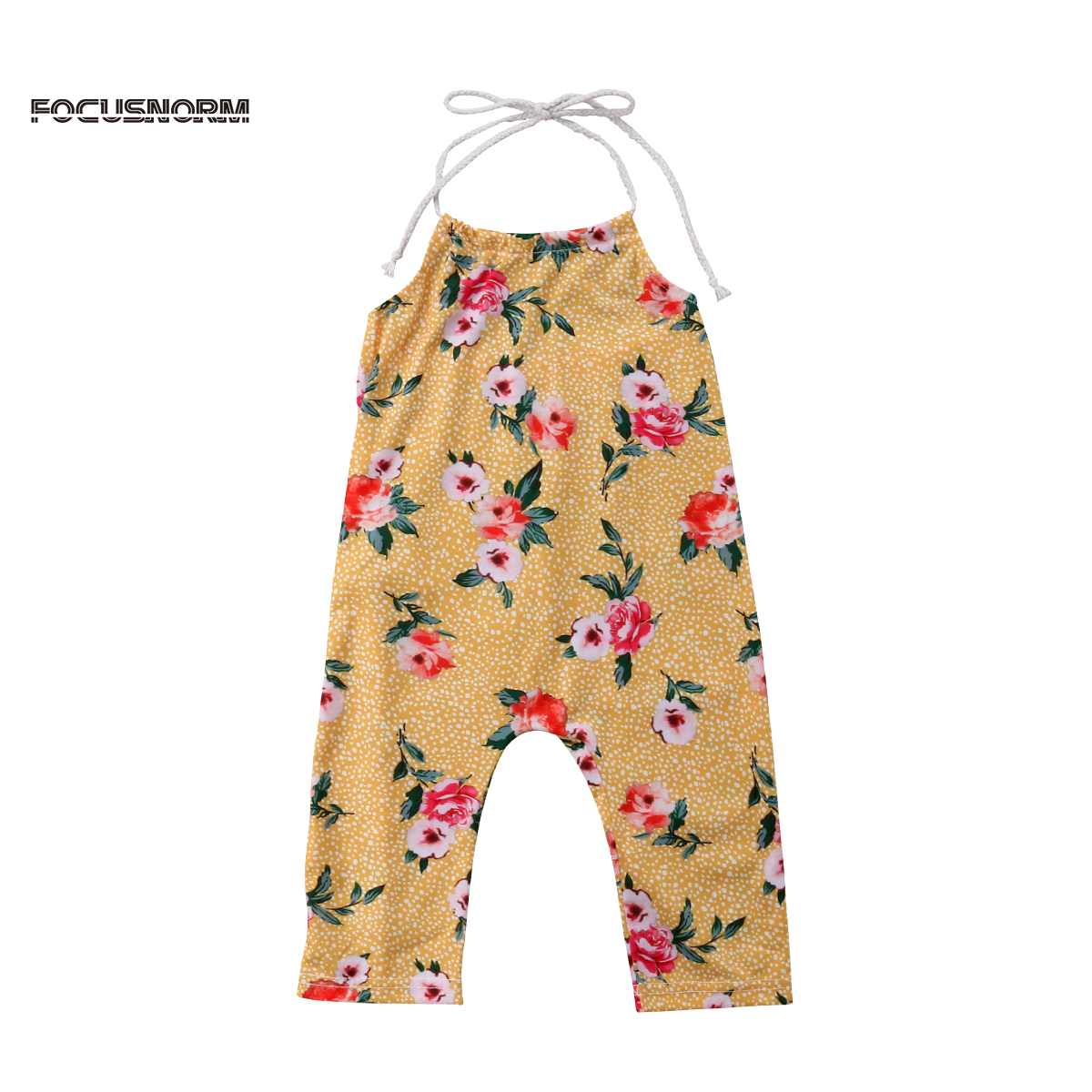Summer Newborn Baby Girl Romper Floral Backless Belted One Piece Jumpsuit Outfit Clothes