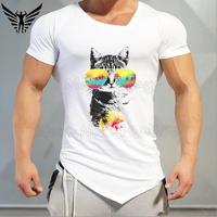 Muscleguys Brand Cool Cat Breeze T Shirt Men 2017 Fashion Funny Animal Fitness And Bodybuilding Tees