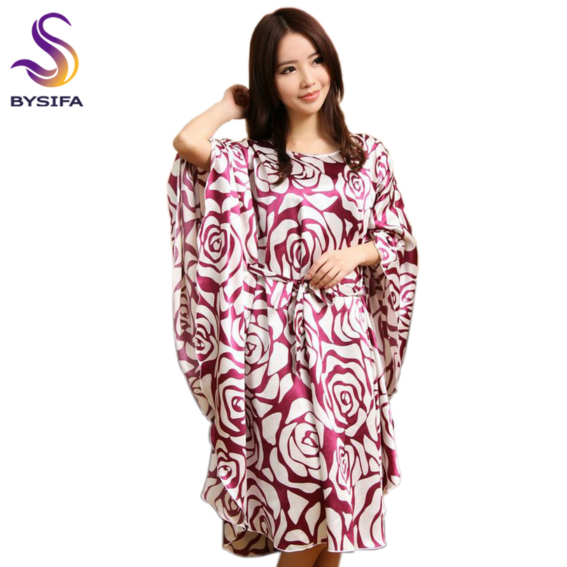Summer Ladies Loose Satin Nightgown Home Apparel Sleep Lounge Elegantní Butterfly Sleeves Black White Rose Sleepshirts Sleepwear