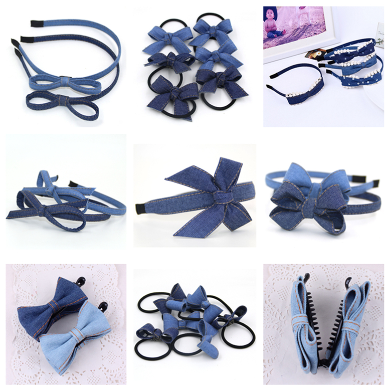 Clearance Girls Mujer Headdress Blue Jean Hairbands Hairpins Denim Cloth Hair Ropes Children Girl Hair Accessory Woman   Headwear