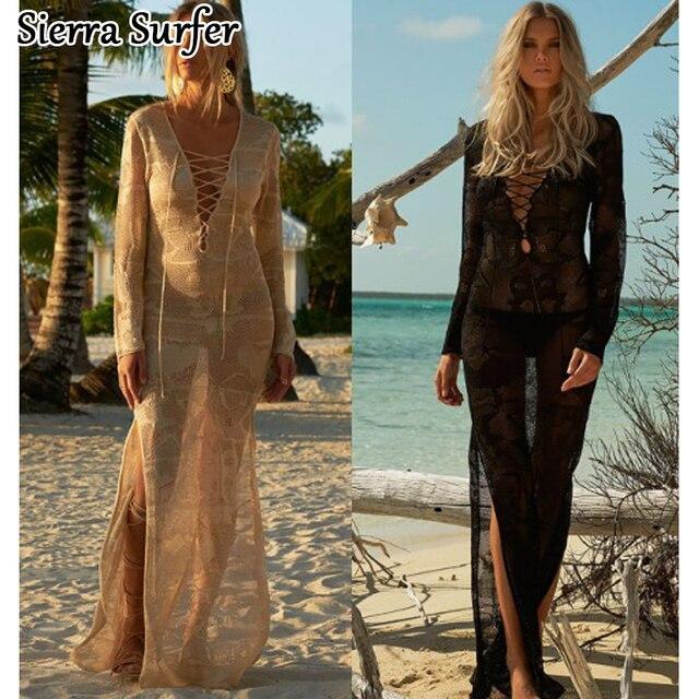 0087e756b2a Saida De Praia Longas Mulheres Swimwear Vestido de praia Cover Up Pareo  Vestidos de Verão 2019