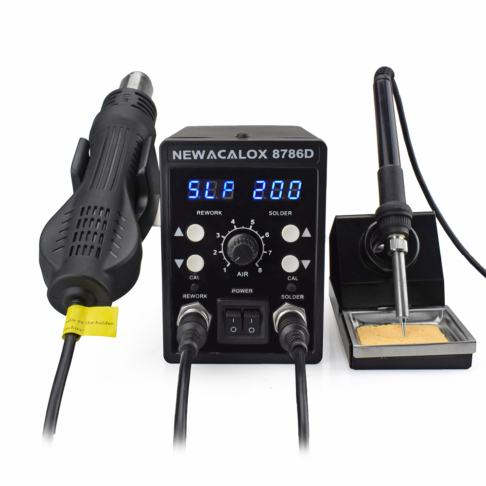 NEWACALOX EU US 8786 878D Soldering Station 750W Heat Gun 60W Soldering Iron Digital Adjust 2 In 1 SMD Rework Welding Station in Electric Soldering Irons from Tools