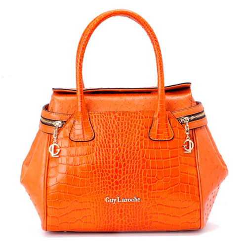 Guy Laroche Orange Cowhide Crocodile Pattern Ostrich Grain Women S Handbag