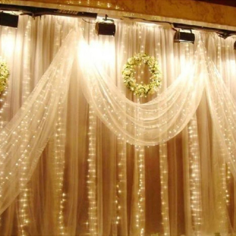 300 Christmas Usb Wireless Remote Control Curtain Light Halloween Waterproof Icicle Curtain Light Wedding Party Xmas/3*3M