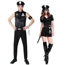 Women Man Cop Costume Halloween Party Black Policewomen Policeman Uniform Police Officer Cosplay Fancy Dress
