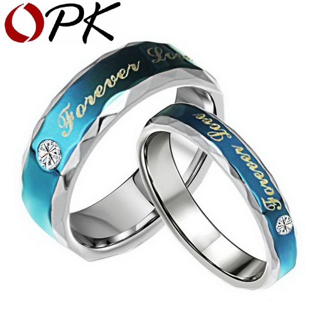 OPK Stainless Steel Wedding Ring For Lover Pave Cubic zirconia for retail Promise Bands jewelry Blue Color Forever love 270