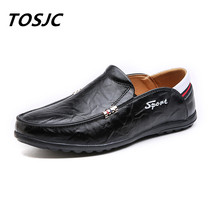 TOSJC 새로운 스타일 맨 소프트 플랫 하단 캐주얼 신발 아늑한 통기성 운전 남자 신발 젊은이위한 일일 야외 캐주얼 신발