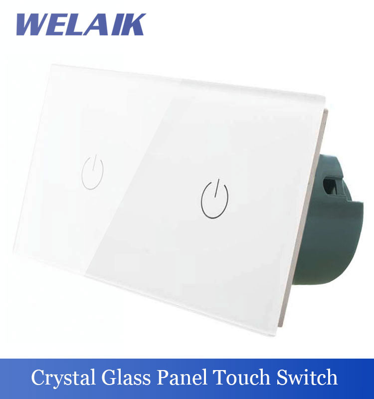 WELAIK 2 frame Crystal Glass Panel  White Black Wall Switch EU Touch Switch Screen Light Switch 1gang1way AC110~250V A291111W/B welaik crystal glass panel switch white wall switch eu remote control touch switch light switch 1gang2way ac110 250v a1914xw b