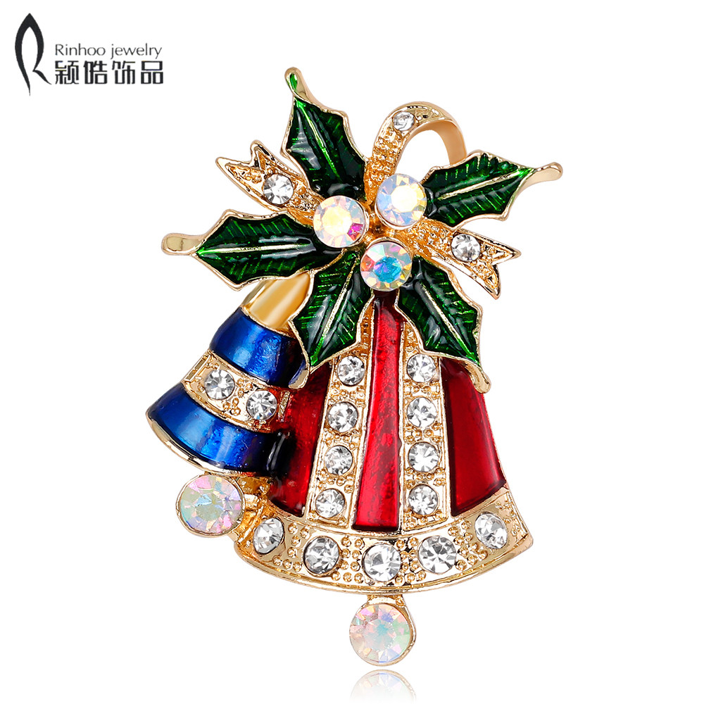 Crystal Double Bells Fashion Christmas Bows Sleigh Bells Brooches Christmas Gifts Christmas Brooches For Women Multicolor Fashion Jewelry