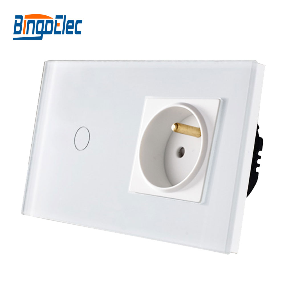 Bingo EU Standard Touch Switch ,crystal Glass Panel,110-250V 16A Wall French Socket With Light Switch,Hot Sale