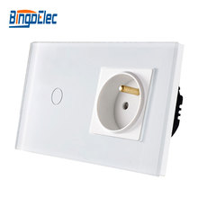 Bingo EU standard Touch switch ,crystal glass panel,110-250V 16A wall french socket with light switch,Free shipping