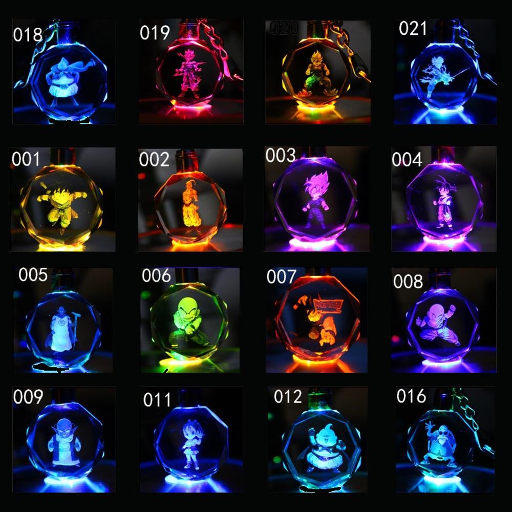 16 PCS a lot Dragon Ball Z Anime Crystal Keychain Cartoon Figures SON GOKU Wukong Figure