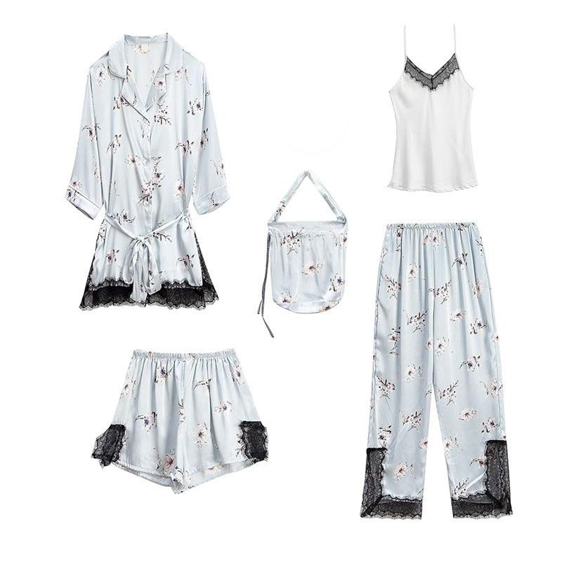 5 Pieces Set Women Sleep Lounge Printed Satin Pajamas Sets Lace Patchwork Sleepwear Set