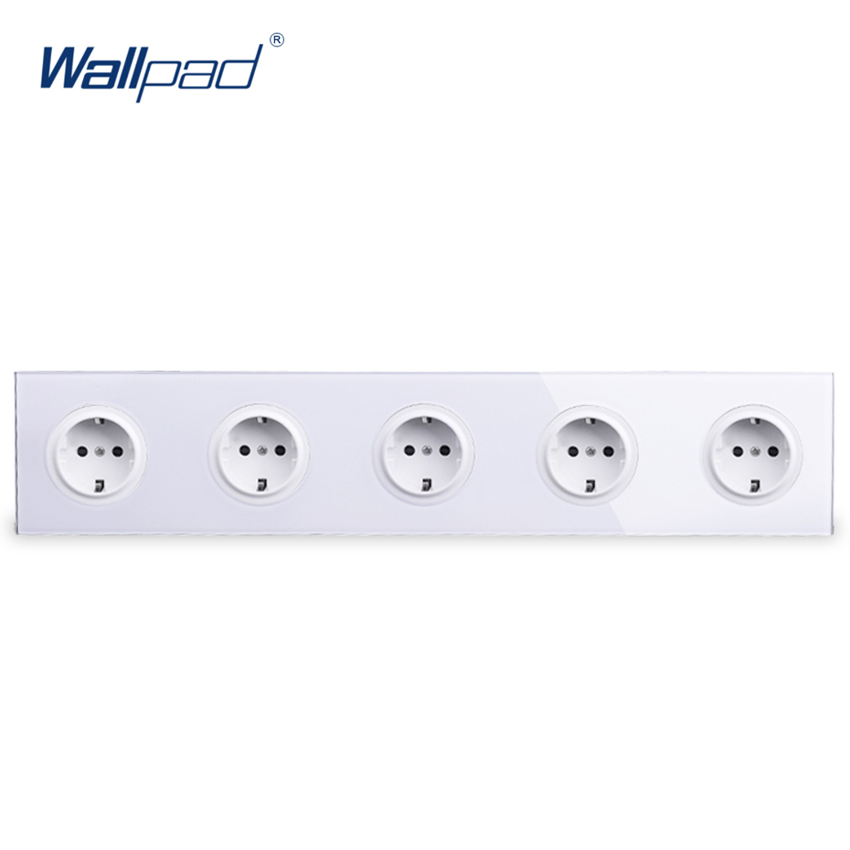 5 EU German Socket Wallpad Luxury Tempered Crystal Glass Panel Electric Wall Power Socket Electrical Outlets For Home eu 2 pin german socket wallpad luxury satin metal panel eu 16a electric wall power socket electrical outlets for home schuko