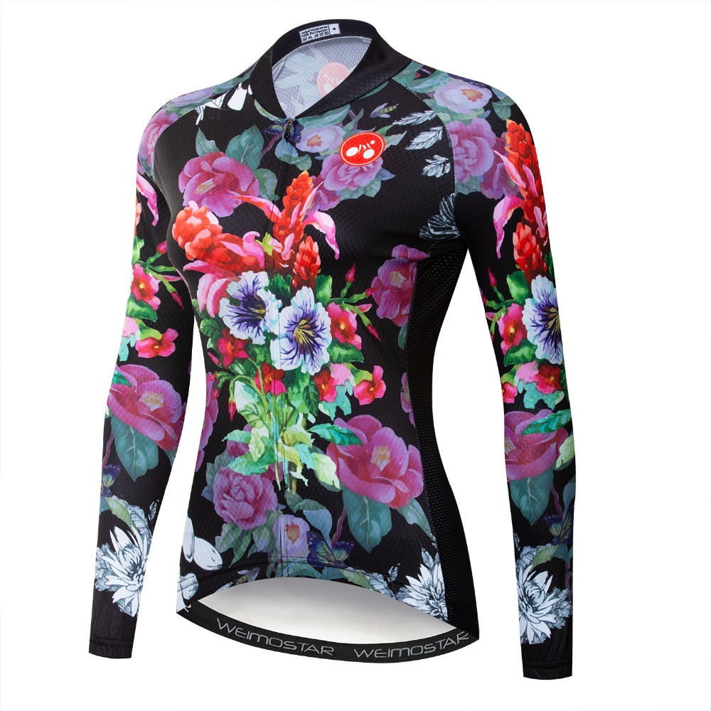 Weimostar Polyester Women Cycling Jersey Long Sleeve Autumn Mountain Bicycle Clothing Flowers Printing MTB Bike Jersey JacketWeimostar Polyester Women Cycling Jersey Long Sleeve Autumn Mountain Bicycle Clothing Flowers Printing MTB Bike Jersey Jacket