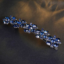 CHIMERA Crystal Flower Hair Clip for Women Luxury Bling Hairpin Dark Blue Barrette Alloy Metal Spring Clamp Fashion Jewelry