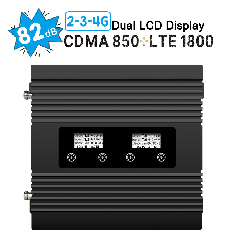 Two LCD Display Cellular Signal Booster CDMA 850 LTE DCS 1800 Cellphone Signal Repeater Band 3 Band 5 2G 3G 4G Amplifier 82dB #