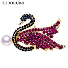 ZHBORUINI Pearl Brooch Creative Rhinestone Noble Swan Breastpin Natural Freshwater Jewelry For Women Dropshipping