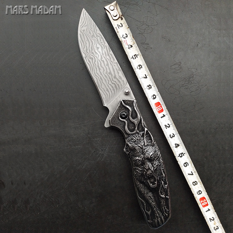 MARS MADAM The Wolf totem Perfect Damascus Folding Knife Tactical Survival Knives Hunting Pocket Knife Marked Nostalgia mars madam heavy folding knife camping tactical pocket knife full stainless steel sharpest hunting knife 1959