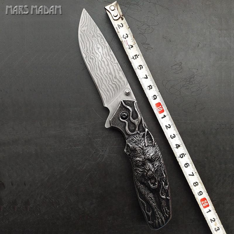 Le loup totem parfait damas couteau pliant tactique survie couteaux chasse couteau de poche marqué nostalgie