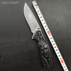The Wolf totem Perfect Damascus Folding Knife Tactical Survival Knives Hunting Pocket Knife Marked Nostalgia